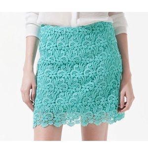 Zara Guipure Lace Mini Skirt Aqua Blue  Size M